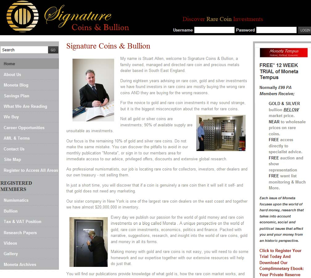 Signature Coins & Bullion reviews ratings and company details